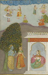 KRISHNA AND RADHA WITH ATTENDA
