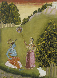 KRISHNA AND RADHA IN A LANDSCA