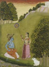 KRISHNA AND RADHA IN A LANDSCA