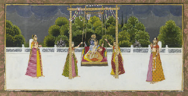 KRISHNA AND RADHA ON A SWING,