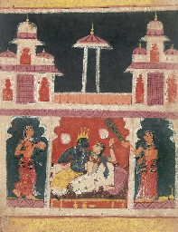 KRISHNA AND RADHA IN A PAVILIO