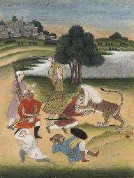 AURANGZEB KILLING A LION, JAIP