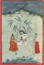 LADIES VISITING A SADHU, 1750