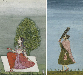 LADY WITH A CARPET AND TREE, R