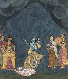 KRISHNA DANCING IN THE RAIN, R