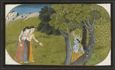 KRISHNA AND TWO GOPIS, KANGRA,