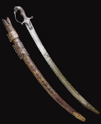 A MUGHAL SWORD WITH LACQUERED