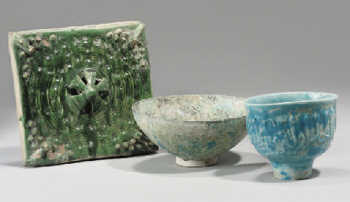 A GHAZNAVID TILE AND TWO BOWLS