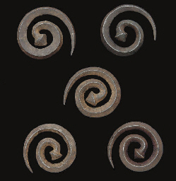 FIVE SAFAVID STEEL BUTTONS, IR