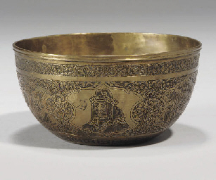 A QAJAR ENGRAVED BRASS BOWL, I
