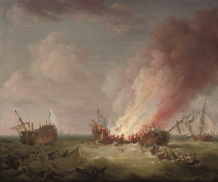 H.M.S. Quebec ablaze at the en