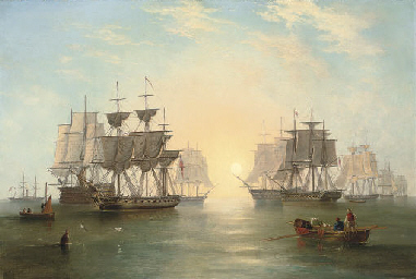 The fleet at anchor in an even