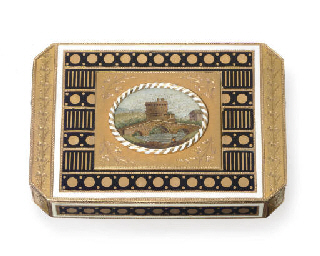 A SWISS GOLD AND ENAMEL SNUFF
