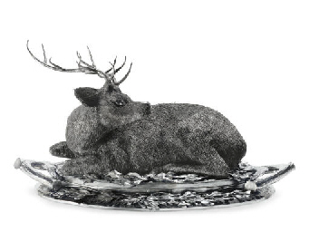 AN ITALIAN SILVER DEER-FORM CO