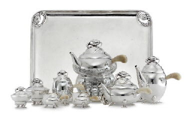 A DANISH SILVER TEA AND COFFEE