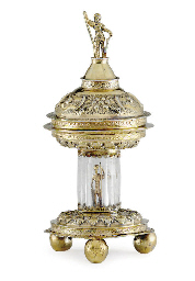 A GERMAN SILVER-GILT AND ROCK