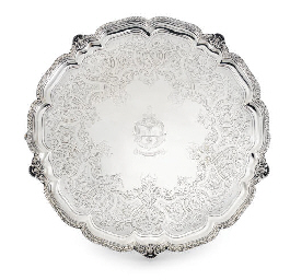 A LARGE VICTORIAN SILVER SALVE