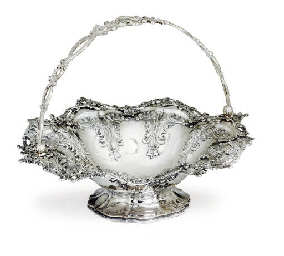 A VICTORIAN SILVER CAKE BASKET
