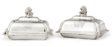 A PAIR OF GEORGE IV SILVER COV