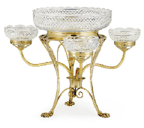 A REGENCY SILVER-GILT AND GLAS