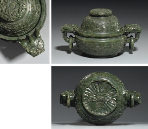 A FINE SPINACH JADE CENSER AND
