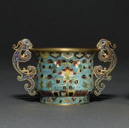 A CLOISONNÉ ENAMEL TWIN-HANDLE