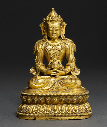 A FINELY CAST GILT-BRONZE FIGU