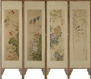 A FOUR-FOLD PAINTED SCREEN