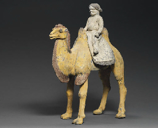 A POTTERY MODEL OF A CAMEL AND