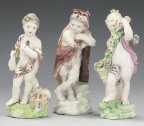 THREE DERBY PORCELAIN FIGURES