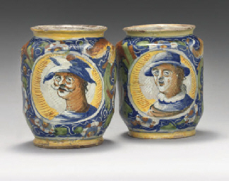 A PAIR OF ITALIAN MAIOLICA SQU