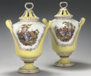 A PAIR OF BERLIN TWO-HANDLED Y