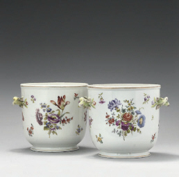 A PAIR OF DRESDEN CACHE-POTS