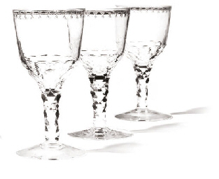 A SET OF THREE LARGE WINE GLAS