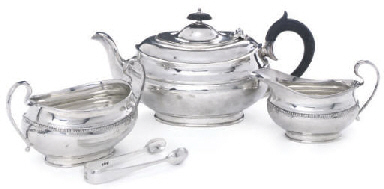 A GEORGE V THREE-PIECE SILVER