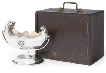 A SILVER NOVELTY CRIB, WITH BI