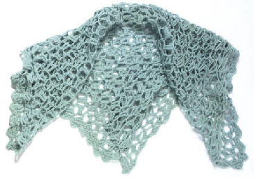 A PALE BLUE WOOL BABY'S SHAWL