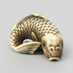 An ivory model of a carp, 19th