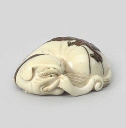An ivory model of an elephant,