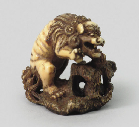 An ivory model of a shishi, ci
