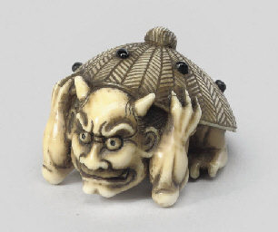 An ivory study of an oni, sign