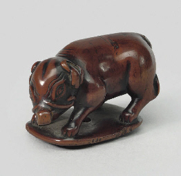 A wood model of a boar, late 1