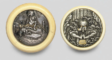 Two silver Manju netsuke, 19th