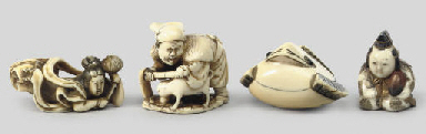 A group of four ivory netsuke,