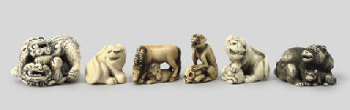 A group of six ivory animalier