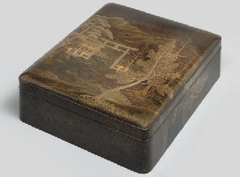 A large lacquer Bunko (documen