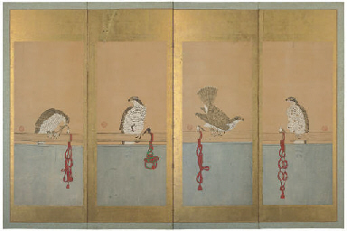 A FOUR FOLD SCREEN, 19TH CENTU