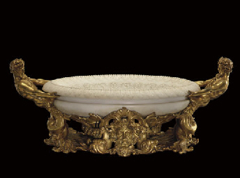 AN ORMOLU AND WHITE MARBLE CEN