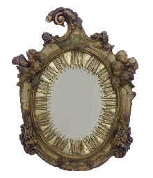 AN ITALIAN GILTWOOD, PAINTED A