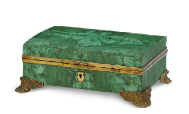 A FRENCH MALACHITE AND BRONZE